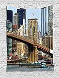 THndjsh Urban Tapestry, Skyline Brooklyn New York USA Cityscape Bridge Buildings River Coastal Scenery, Wall Hanging Bedroom Living Room Dorm, 40 W x 60 L inches, Multicolor