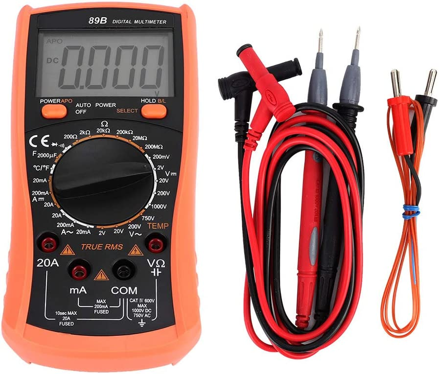 89B Digital Multimeter DC AC Voltmeter Ohm Volt Amp Test Meter Electric Tester Ohmmeter with 2000 Manual Counting Diode