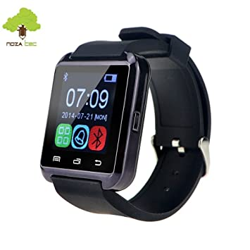 Noza Tec U8 Reloj Inteligente Smartwatch Deportivo con Bluetooth Compatible con Teléfono de Android Samsung, Apple iOS iPhone - Negro