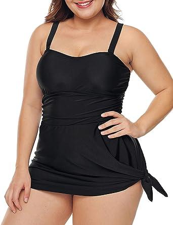 Womens Swimwear HIgh Waisted Plus Size Black Strappy Neck Detail M UK-XXXL UK
