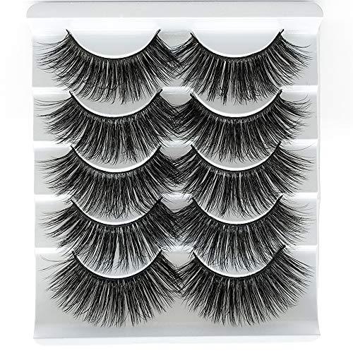 VGTE 3D Eyelashes Handmade False Eyelashes Set Professional Fake Eyelashes 5 Pairs Reusable Eyes Lashes (3D02)
