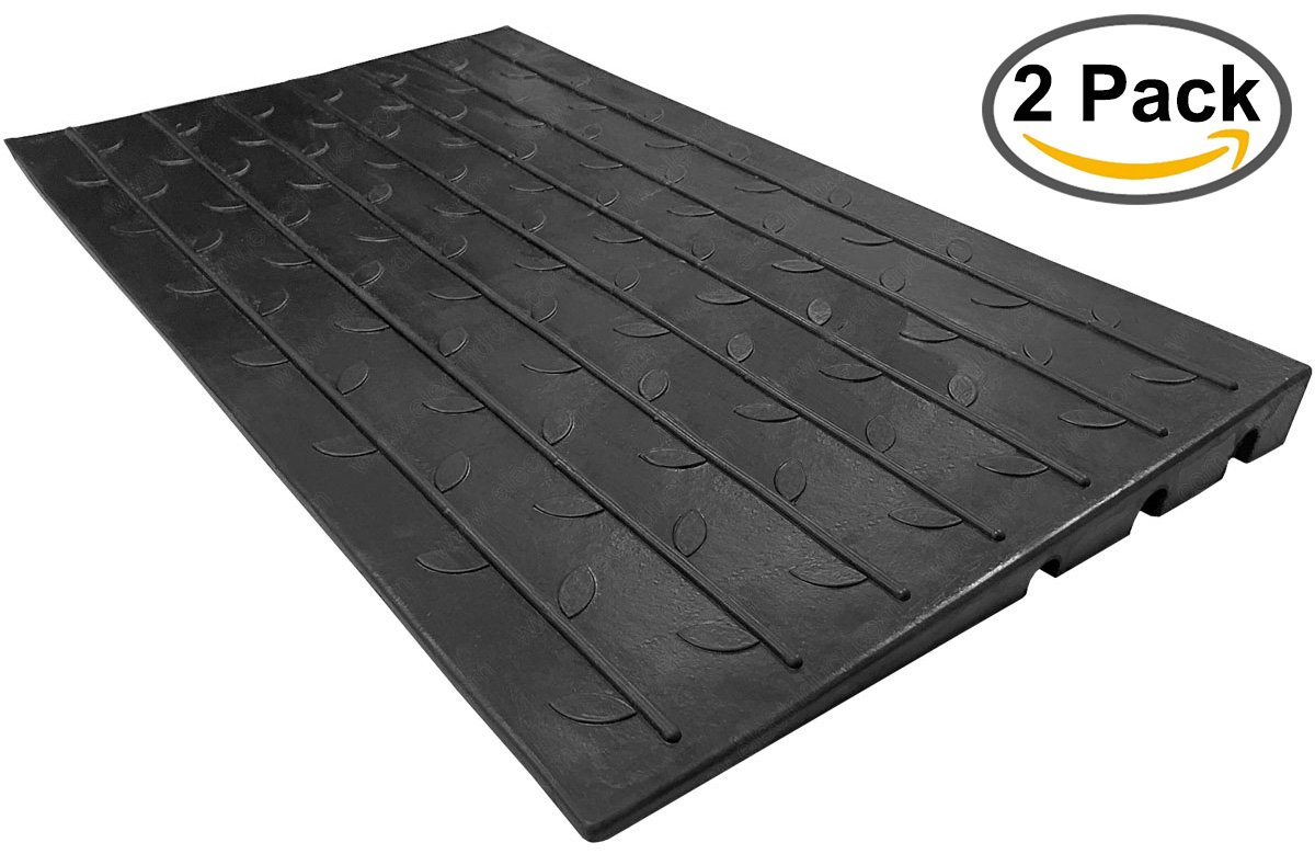 2.5'' Rubber Threshold Ramp with 3 Channels Cord Cover | 2 Pack