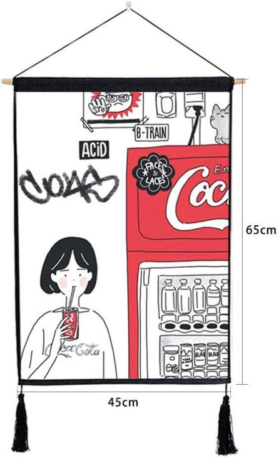Pintura Tapiz Colgante,Dibujos Animados Japoneses Máquina Expendedora De Tapices Colgantes Decorativos Pintura Salón Wall Borla Algodón Tejido Tela De Cubierta De La Caja Del Contador De Arte