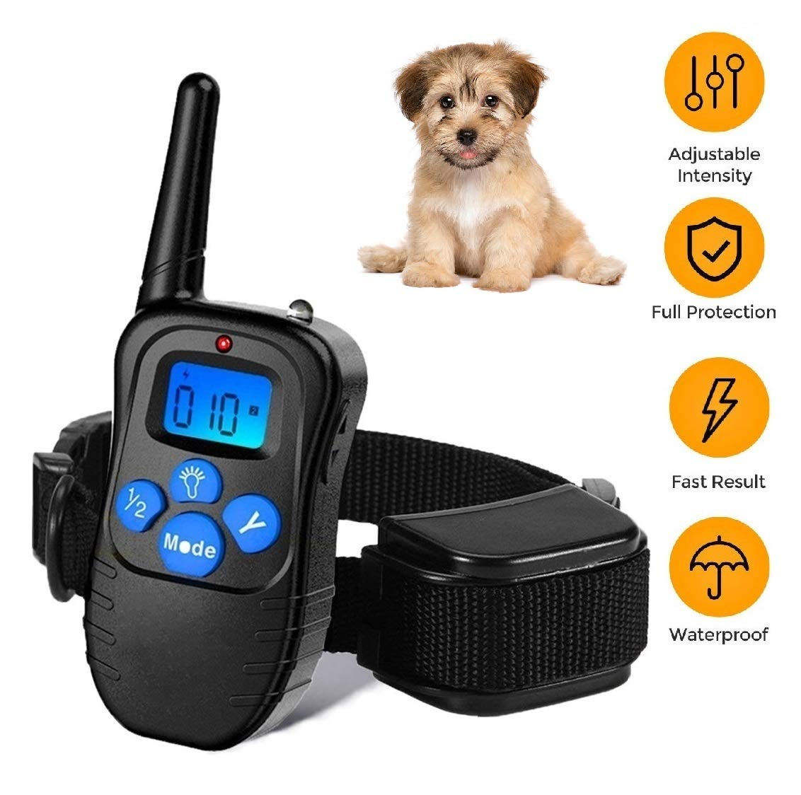 Dog Training Collar Rechargeable Rainproof 330 yd Remote Dog Training Shock Collar -Vibration, Vibra Shock Electronic Collar,Shock and Tone with Backlight LCD by Runpettee