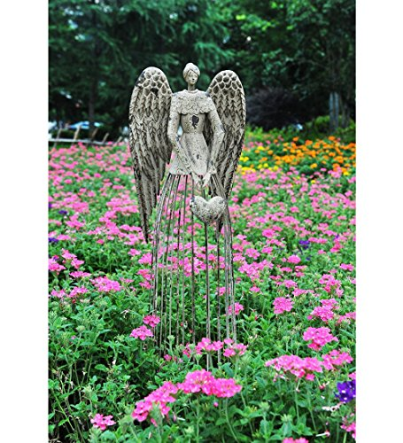 Y&K Decor Antiqued Metal Garden Angel Statues Indoor Outdoor Yard Lawn Statue Decor, 32