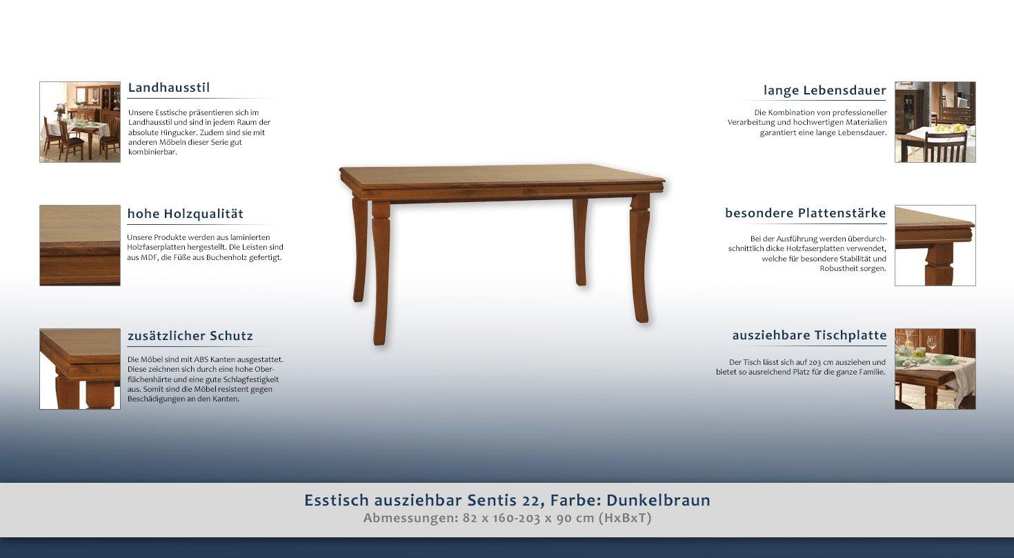 Esstisch ausziehbar Sentis 22, Farbe: Dunkelbraun - 160 - 203 x 90 ...