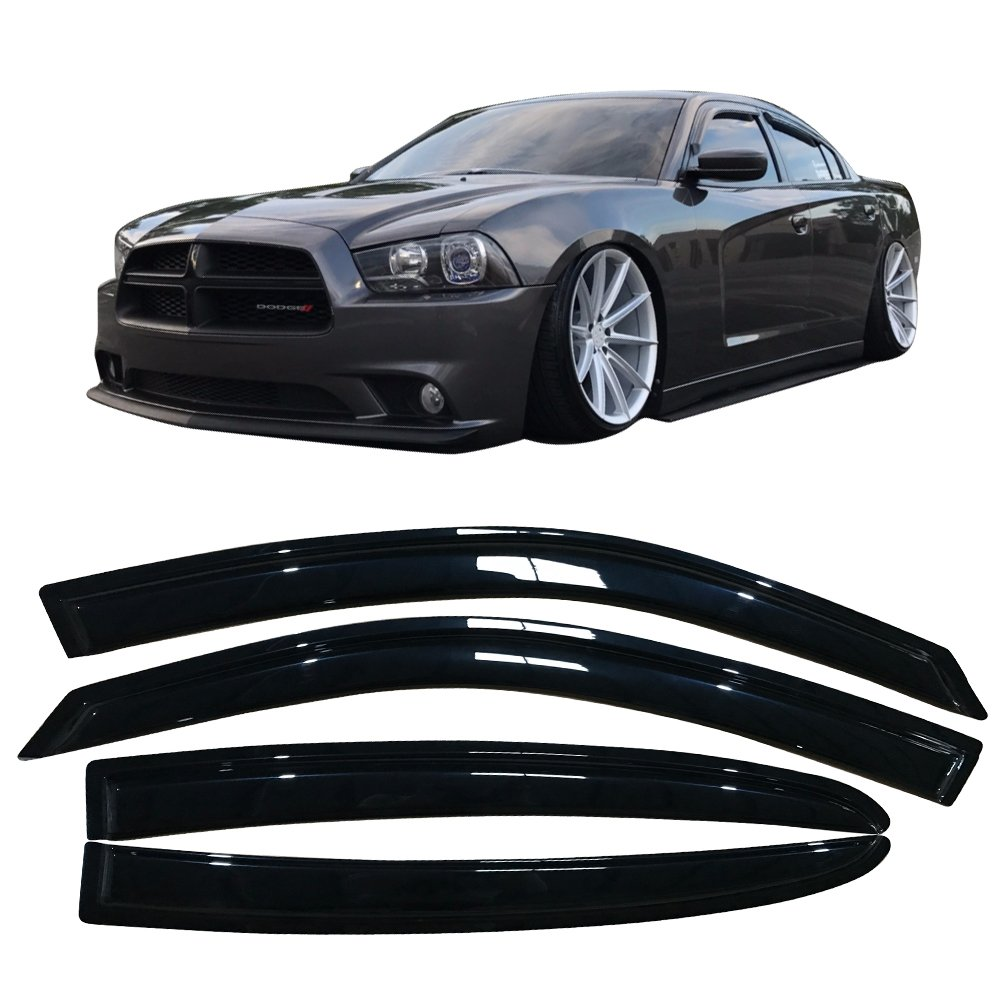 Window Visor Fits 2011-2018 Dodge Charger | Slim Style Acrylic Black Sun Rain Guards Vents Shade Cover By IKON MOTORSPORTS | 2012 2013 2014 2015 2016 2017
