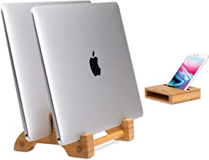 """AVLT Eco-Friendly Natural Bamboo Wood Vertical Laptop Stand and Desk Organizer - Compatible with Apple MacBook, iPad, iPhone, Tablet - Multiple Device Docking Station for Up to 0.65"""" Thick"""