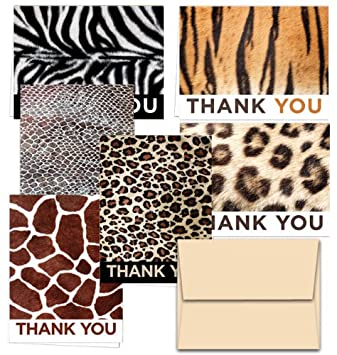 72 Thank You Cards - Animal Print Thank You - 6 Designs - Blank Cards -