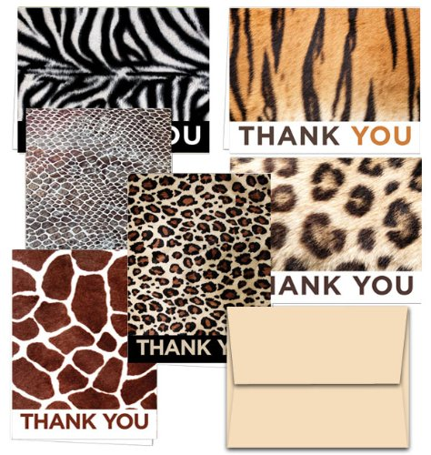 72 Thank You Cards - Animal Print Thank You - 6 Designs - Blank Cards - Off-White Ivory Envelopes Included