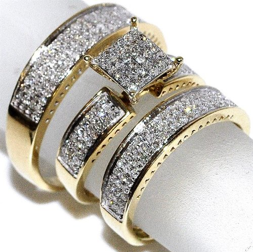 Amazon Com 1cttw Diamond Yellow Gold Trio Wedding Set His And Her