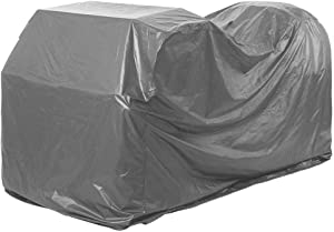 QEES Riding Lawn Mower Cover, Heavy Duty Waterproof Oxford Garden Rain Dust Cover for Garden Tractor, Large Size for Universal Fit with Drawstring JJZ379 (Light Grey)