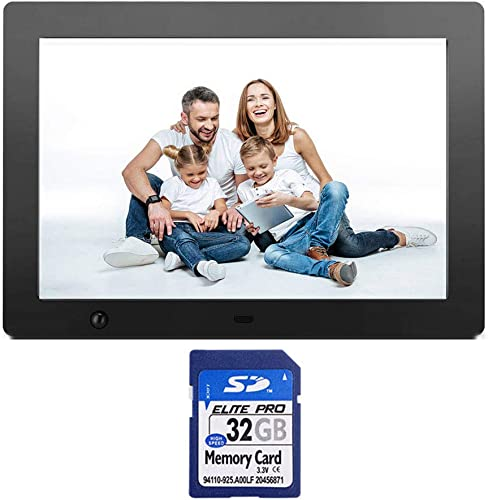 10.1 Inch Digital Photo Frame Electronic Picture Frame 32GB SD Card with Motion Sensor and 1280×800 High Resolution Full IPS LCD 1080P HD Video player Stereo MP3 Mp4 Calendar Alarm Time Remote Contr
