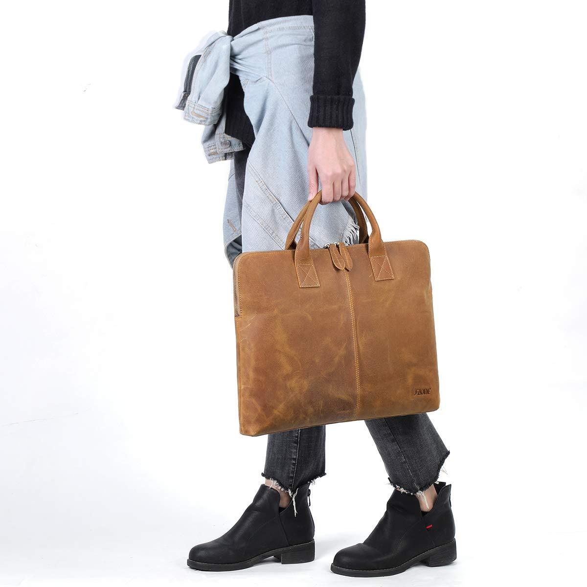 S-ZONE 15,6 Inch Aktentasche aus Leder Business Laptoptasche Tote f/ür M/änner Frauen