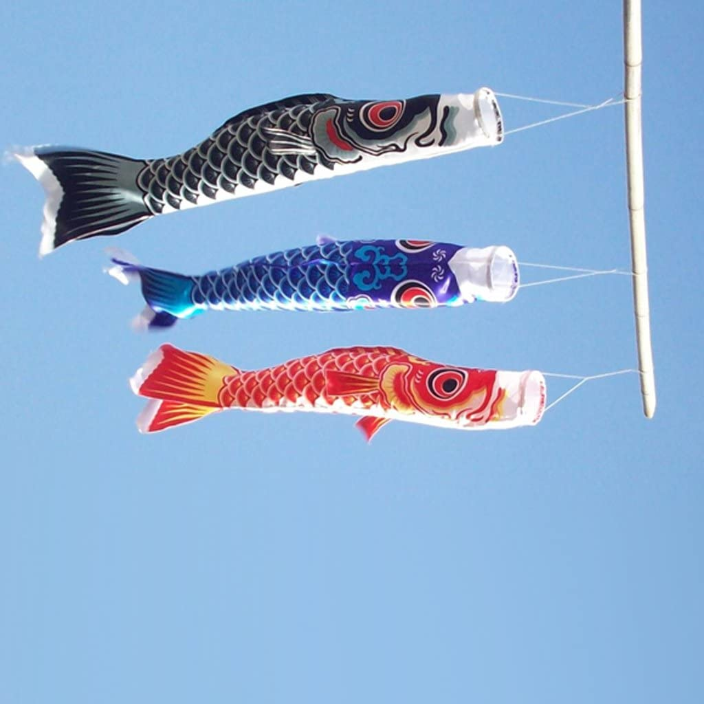 Fenteer Pack of 2 Japanese Carp Satin Windsock Streamer Fish Flag Kite Nobori Koinobori 100cm