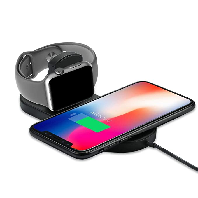 more photos 9aa2b 155ff Wireless Charger Compatible for Apple Watch/iPhone, KSWNG 2 in 1 Qi  Ultra-Thin Wireless Charger Compatible for iPhone X/XS/XR/XS MAX / 8/8  Plus, Apple ...