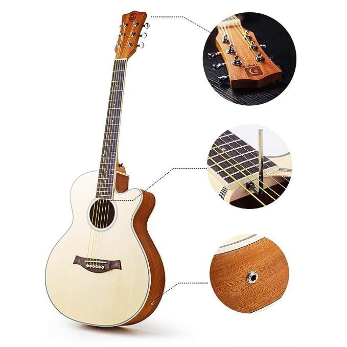 Vangoa - Guitarra eléctrica plegable de madera de pícea de 91,44 cm, tamaño 3/4, 3 bandas EQ con caña de pescar, 6 cuerdas, cable de guitarra, ...