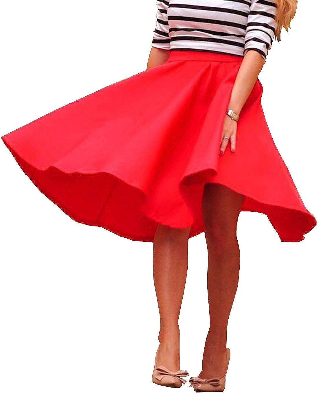 Vestidos Vintage para Mujer Aline Acampanada Falda Midi Faldas De ...