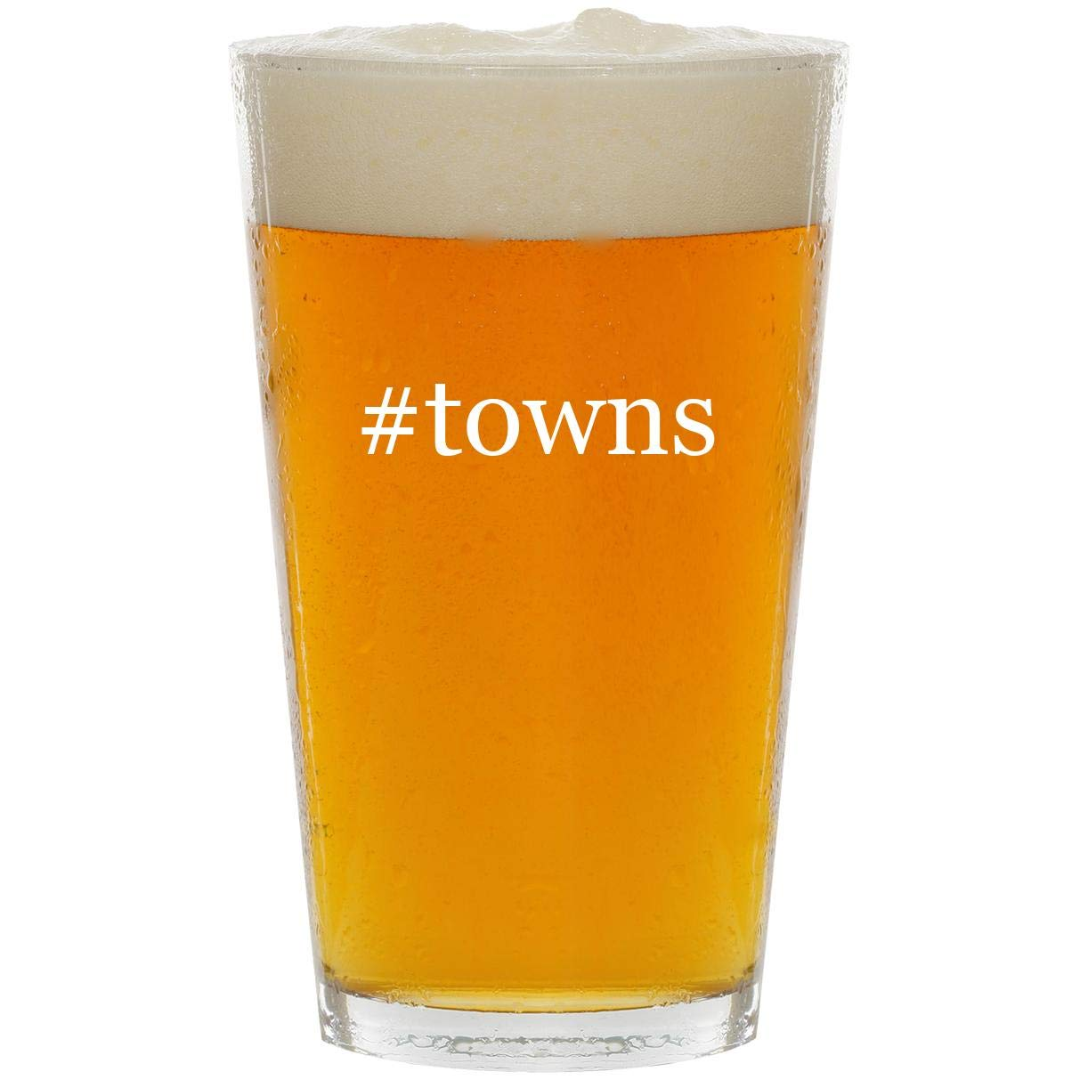 #towns - Glass Hashtag 16oz Beer Pint