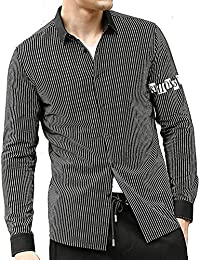 "<span class=""a-offscreen"">[Sponsored]</span>Men's Plaid Striped Casual Button Down Collar Long Sleeve Checkered Cotton Dress Shirts(Black XX-Large)"