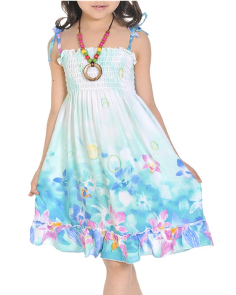 Amao Little Big Girls' Bolero Casual Long Dress Beach Dress Size 4-12 (4-6years, PI3)