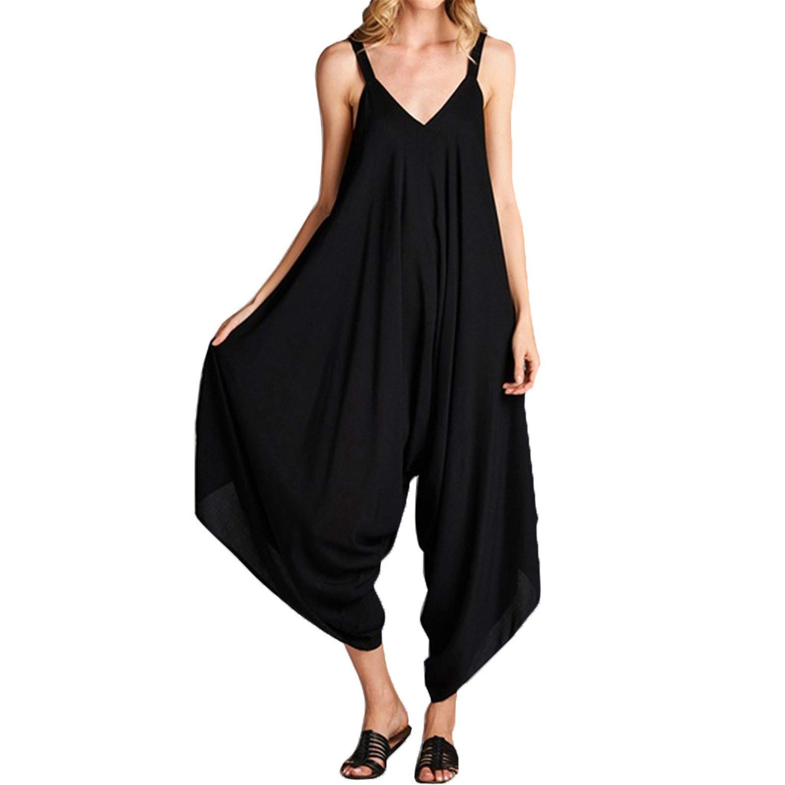 Thenxin Loose Romper for Women Sling V-Neck Wide Leg Jumpsuit Solid Color Comfy Outfit Playsuit (Black,XL)