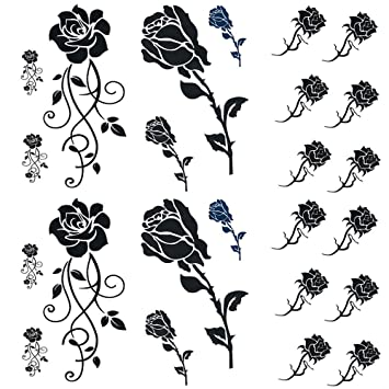 Amazoncom Black Rose Temporary Tattoos For Women Sexy 6 Pcs By