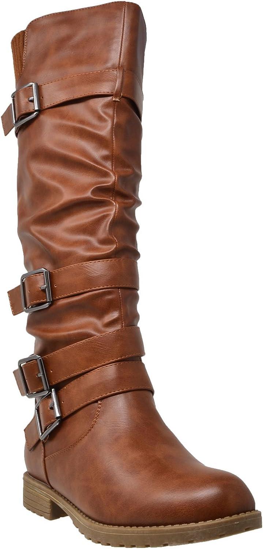 Chapter-13 New Knee High Zipper Buckles Low Heel Casual Comfort Women/'s Boots