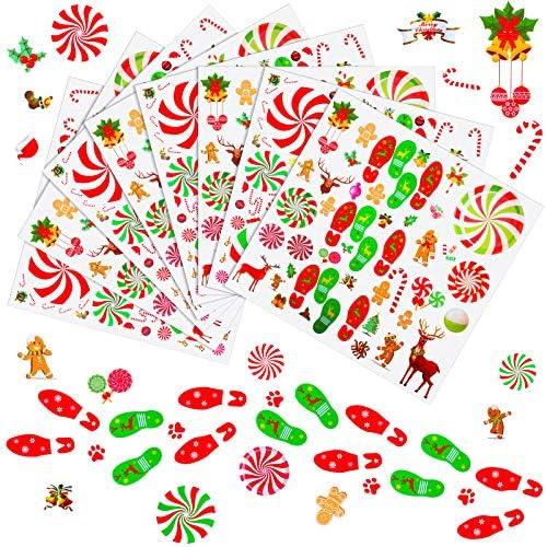 552 Pezzi Adesivi di Menta Piperita Adesivi di Impronte di Natale Decalcomanie di Babbo Natale Caramelle Renne per Bancone Finestra Pavimento Decor Natalizia Accessori per Casa