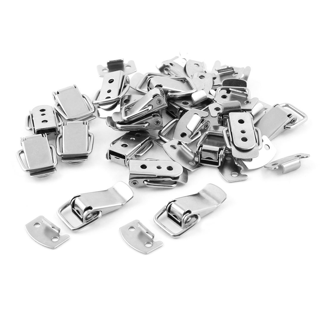 Uxcell a14051000ux0074 Metal Hardware Spring Load Box Cases Closet Toggle Latch Hasp,Silver Tone, 20-Pack