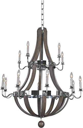 Kalco Lighting Kalco 300485CH Transitional 15 Light Chandelier from Sharlow Collection in Chrome Finish
