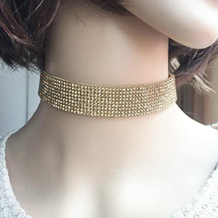 fcc33a36dcee Amazon.com  Hemlock Women Diamond Choker Necklace Velvet Jewelry ...