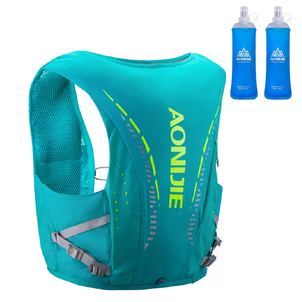 TRIWONDER Hydration Pack Backpack 10L Hydration Vest Ultra Marathon Running Vest Lightweight Pack for Outdoor Running Cycling Hiking (Light Green - with 2 Water Bottles, S/M - 27.6-31.5in)