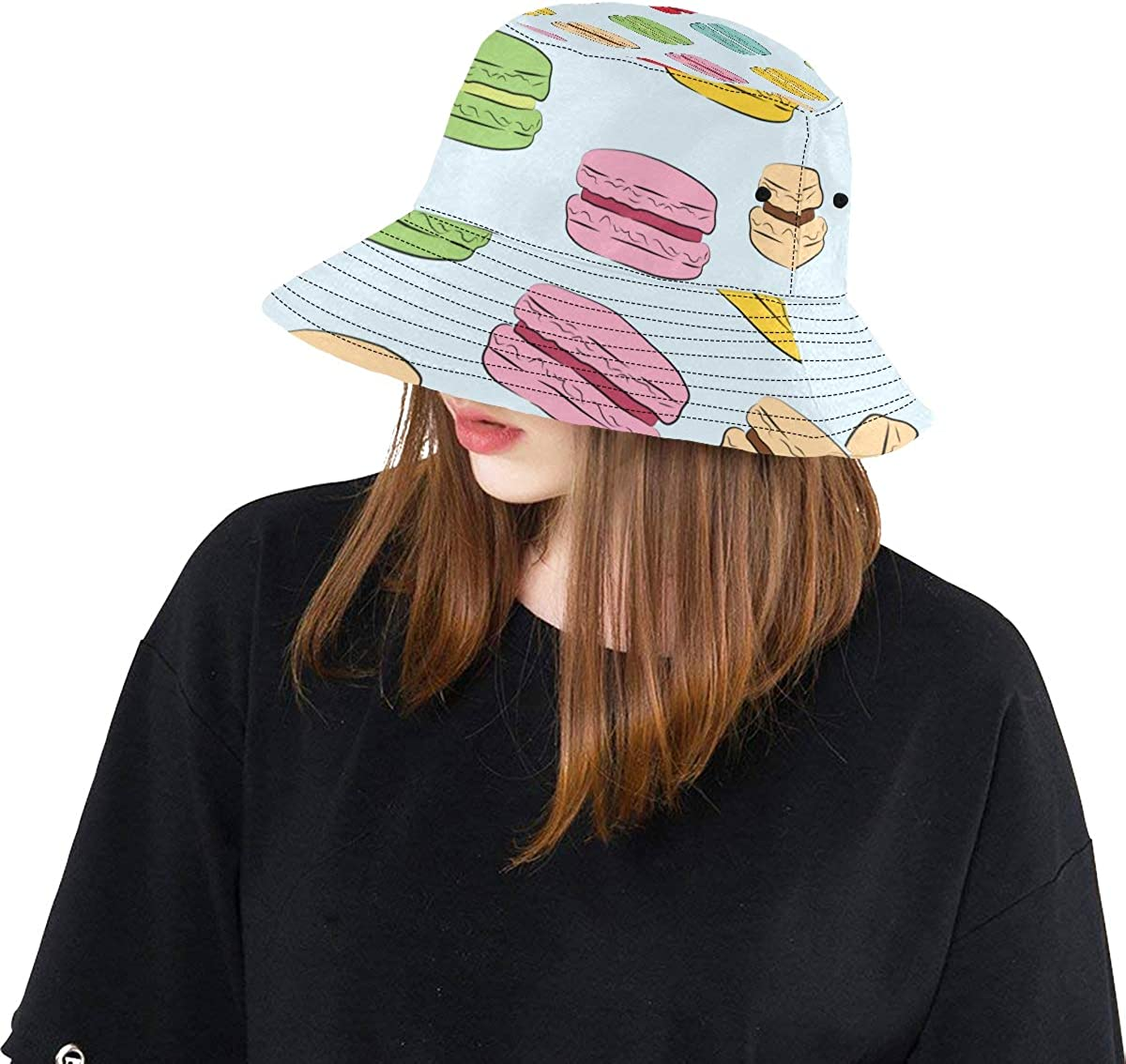Pink Macaron Sweet Gift Summer Unisex Fishing Sun Top Bucket Hats for Kid Teens Women and Men with Packable Fisherman Cap for Outdoor Baseball Sport Picnic