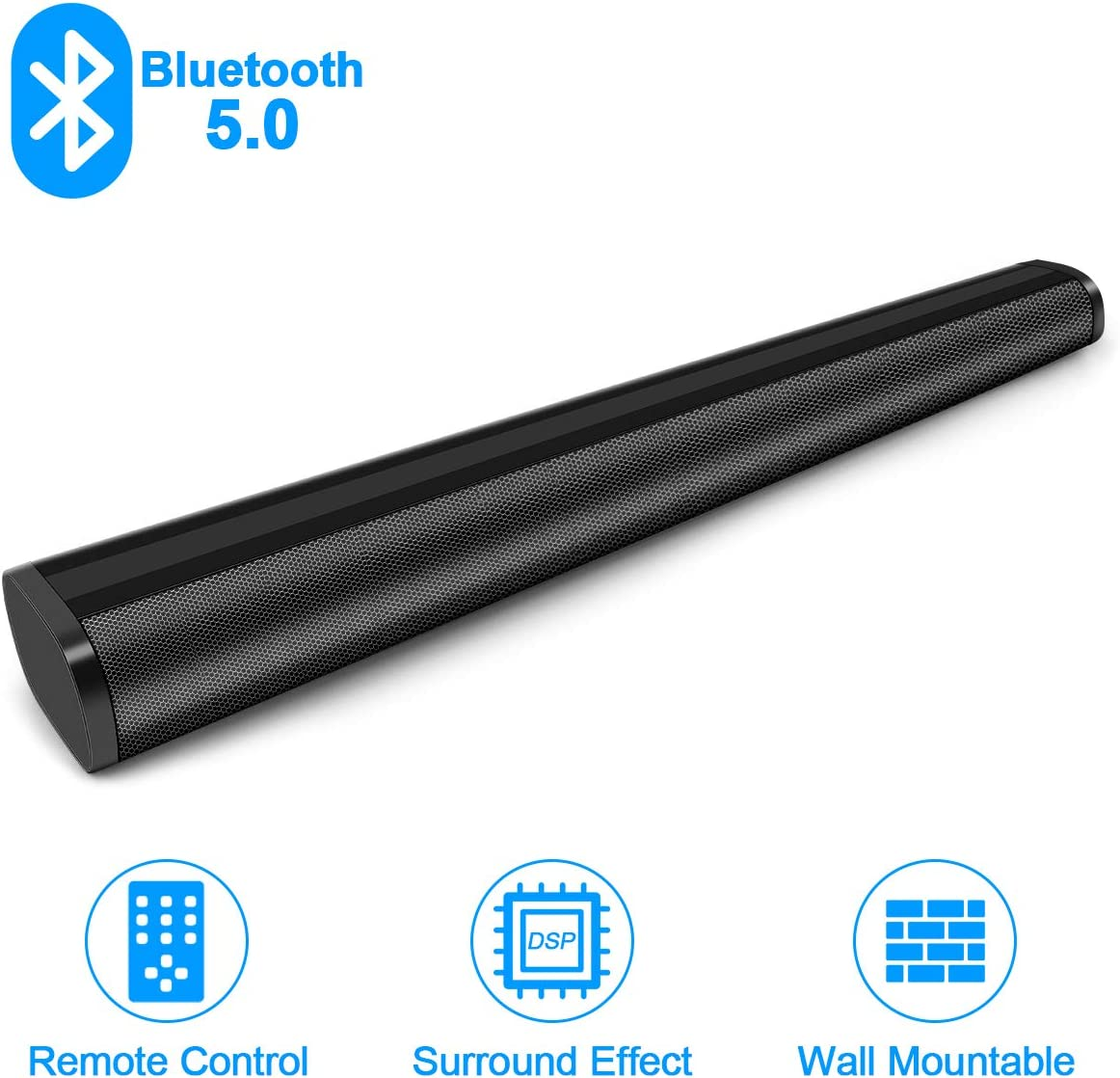 GRC Sound Bar, 31.5-Inch 2.0 Channel Home Audio Sound Bar Built-in Two Subwoofer, Wireless Wired Bluetooth 5.0 Audio Speakers for TV, Optical Aux Line in RCA USB SD Connection, Remote Control