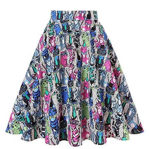 2019 Floral Print Women Skirts Summer High Waist Casual Vintage Swing Retro Skater Midi -