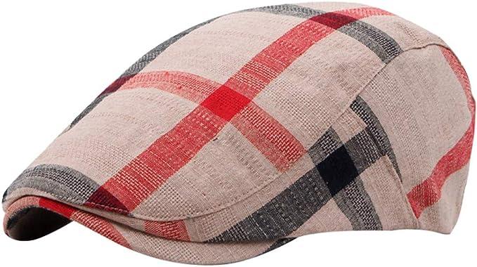 Cotton Baby Kids Hats Toddler Plaid Beret Cap Cabbie Casquette Flat Peaked Hat