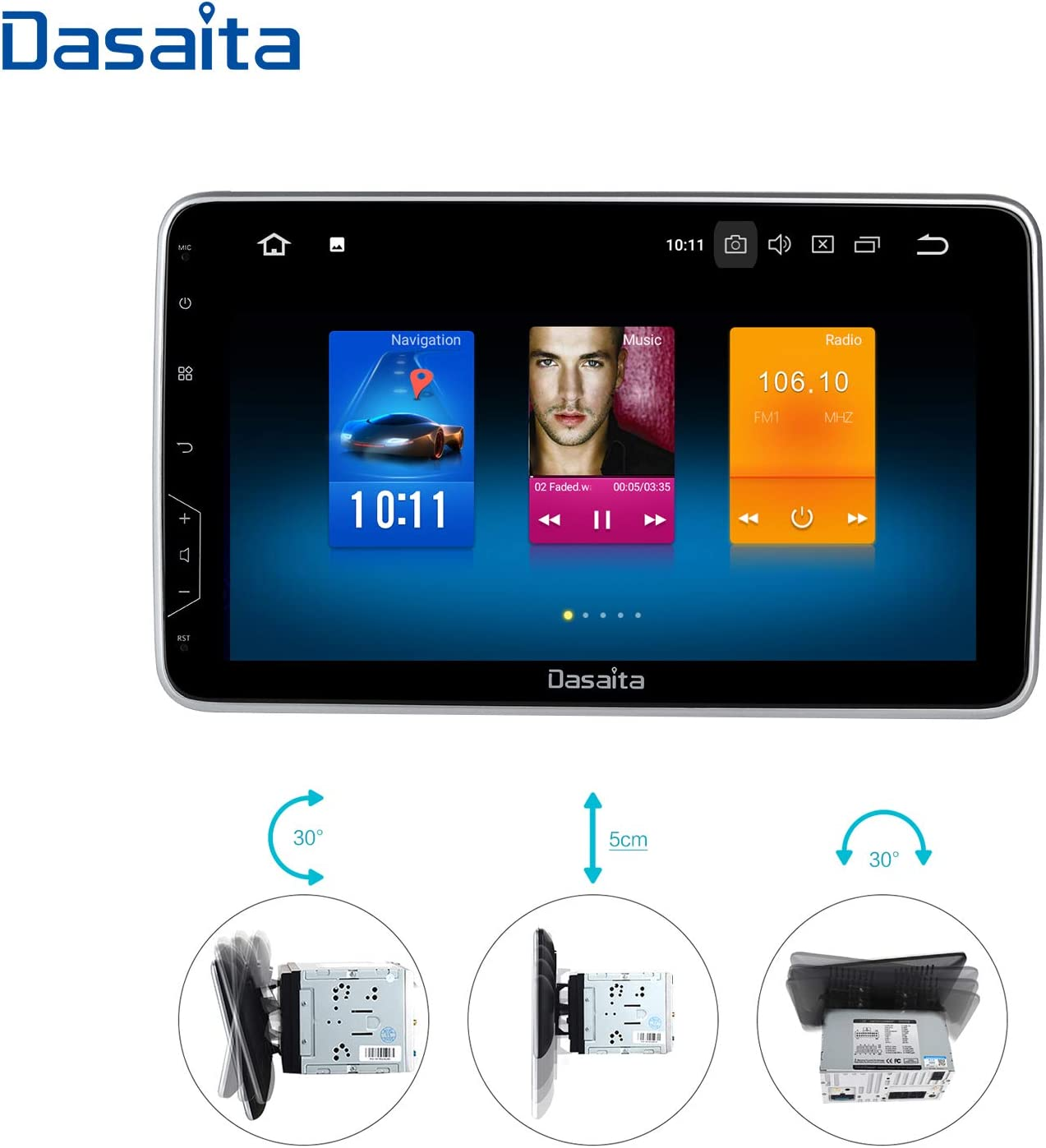 Dasaita 10.2 inch Rotatable Screen Android 9.0 Car Stereo for Any Vehicle with a Double din Slot Double Din Radio GPS 4G Ram 32G ROM Navigation Dash Kit 16G Meomery Card