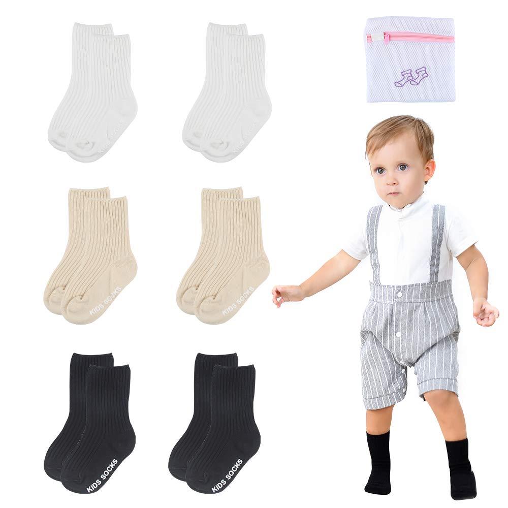 Unisex Baby Socks-Cute Infant Non-Slip Cotton Socks with Grip-Crew Socks for Baby Toddler Kids-24-48 Months