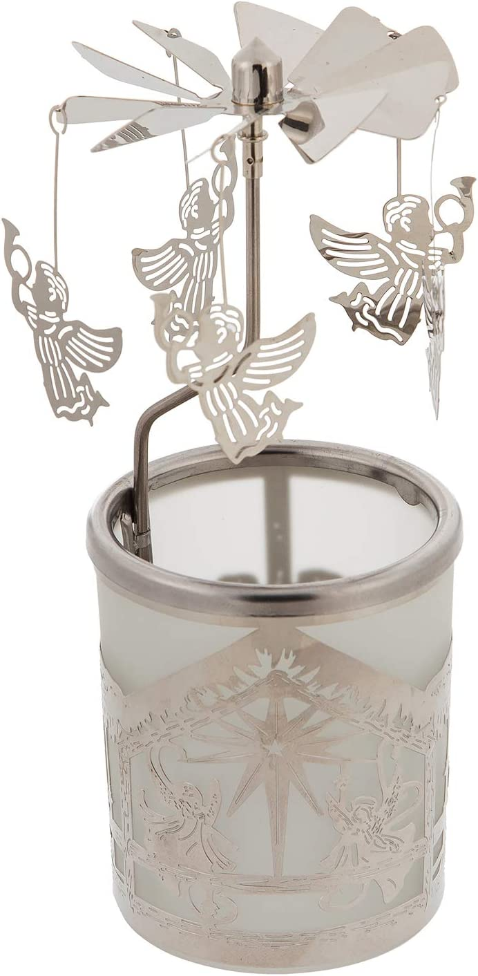 Cypress Home Beautiful Rotary Votive Candle Holder with Nativity Scene and Angel Hanging Pendants - 3 x 3 x 6 Inches Indoor/Outdoor Decoration for Homes, Yards and Gardens
