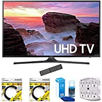 Samsung 74.5-Inch 4K Ultra HD Smart LED TV 2017 Model (UN75MU6300) with 2x 6ft High Speed HDMI Cable, Screen Cleaner for LED TVs & Stanley 6-Outlet Surge Adapter with Night Light