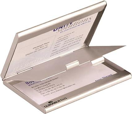 Durable 243323 - Tarjetero de aluminio con 2 compartimentos, color plateado: Amazon.es: Ropa y accesorios