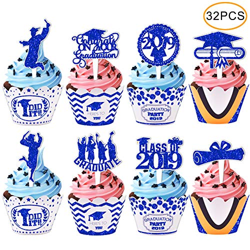 2019 Graduation Cupcake Wrappers and Toppers -Graduation Party Decoration,32 Piece Glitter Blue Cupcake Toppers For Class Of 2019 Congrats Grad Party Birthday Party Supplies Favor]()