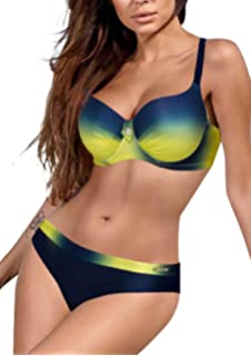 1dcf07c56676 Aleumdr Mujer Bikini Conjuntos Ropa de baño Halter Cuello Traje de ...