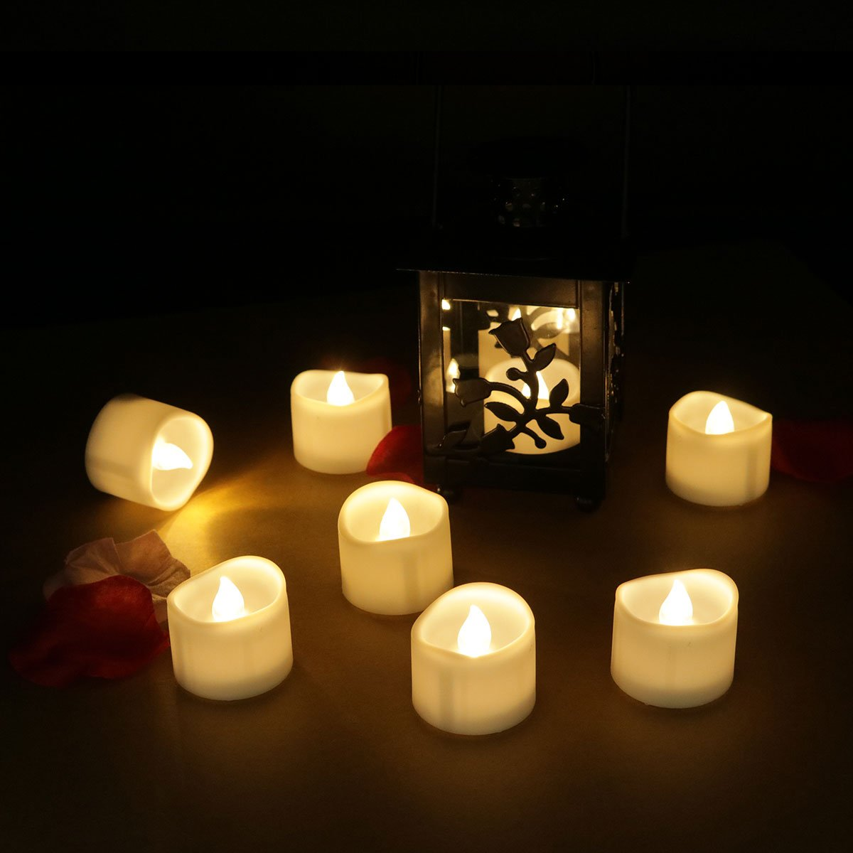 Frestree Flameless LED Candles Battery Powered Halloween Tea Lights Warmer Electric Votive Candle Flickering Tealights for Christmas Wedding Party Decorations Home Décor Warm White 96pcs