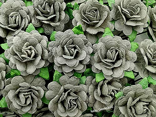 NAVA CHIANGMAI Beautiful Artificial Mulberry Paper Rose Flower (Heart Petals Rose) Wedding Card Embellishment, Scrapbooking Wedding Doll House Supplies Card,DIY Flower Accessories. ()