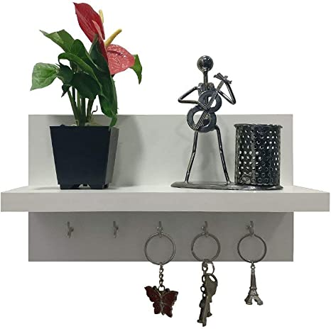 Amazon Com A10shop Omega 6 Engineered Wood Key Holder With Wall Decor Shelf 5 Key Hooks Frosty White Home Improvement