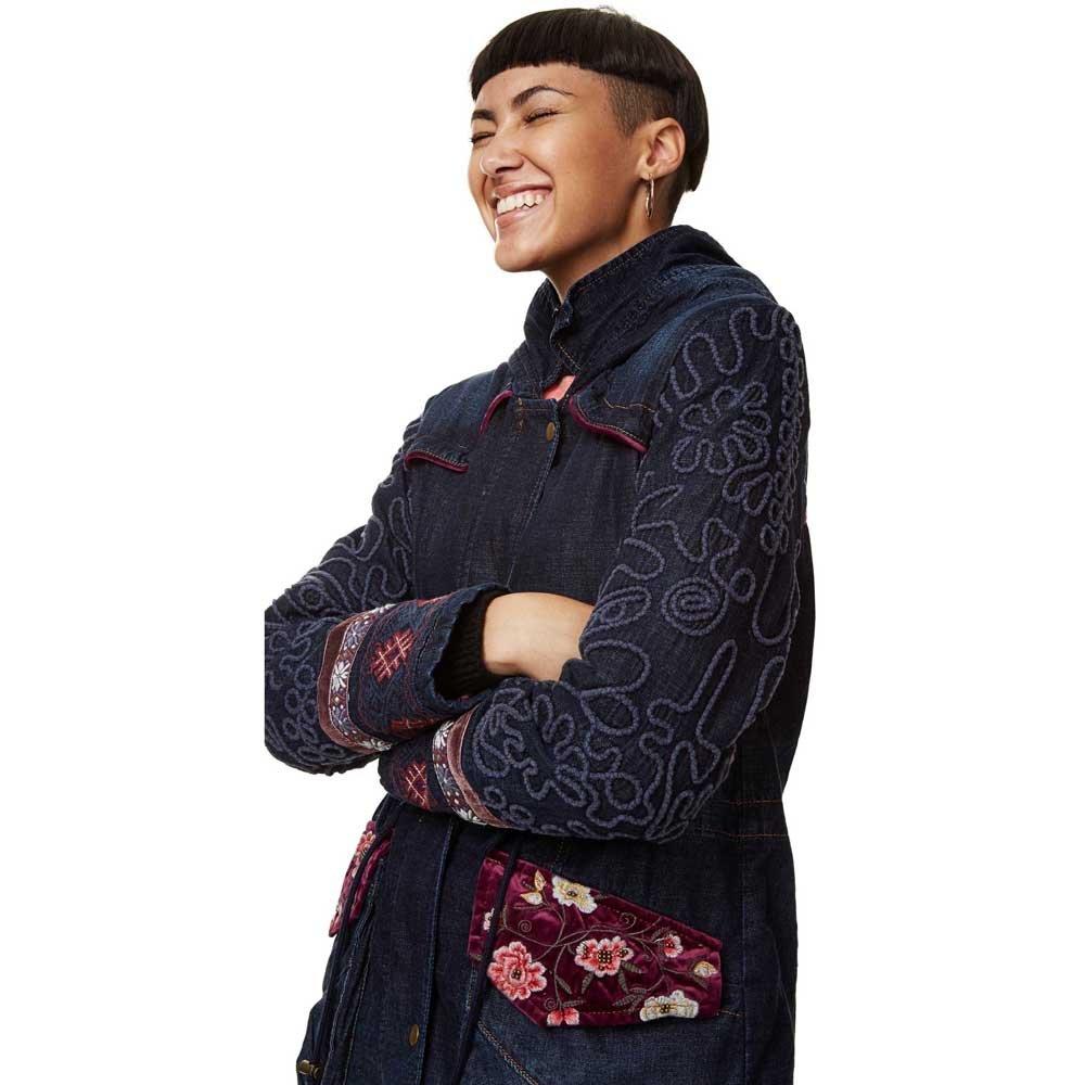 Desigual Denim Winter Coat Natasha With Embroidery (34) at ...