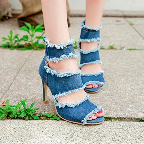 hunpta Women Fashion Sewing Peep Toe Thin Heel Wedges Zipper Super Heel Shoes Blue X6fEGh5Of