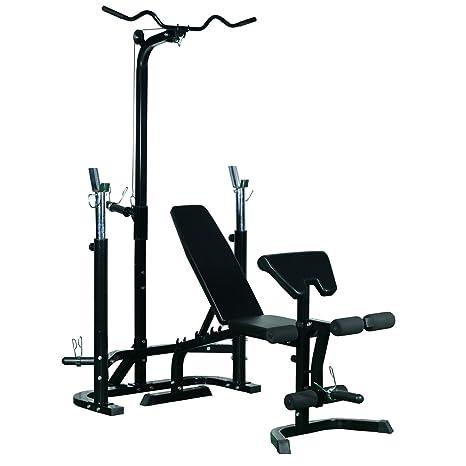 Homcom - Banco de entrenamiento, banco de musculación, banco de pesas, banco de